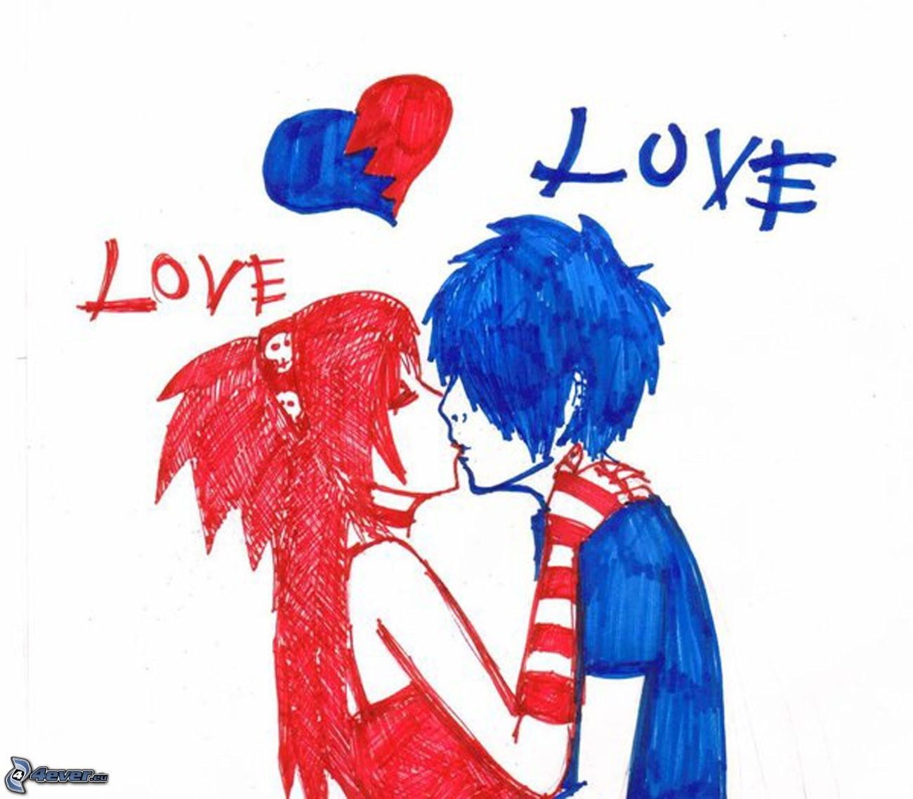 Love Broken couple Wallpaper : Emo amor