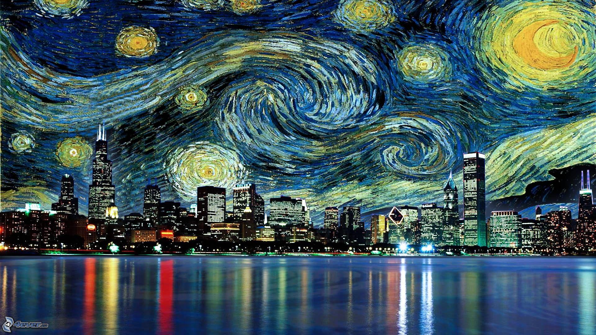 Resultado de imagen para la noche estrellada en la ciudad
